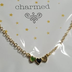 Gold plated enamel three hearts necklace
